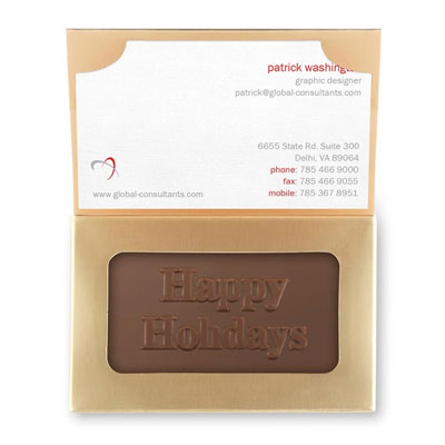 This gold chocolate box and single business card holder comes with a rectangular piece of solid milk chocolate inside.