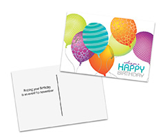 Colored Balloons Birthday Postcard