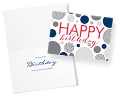 Gray Blue Dots Birthday