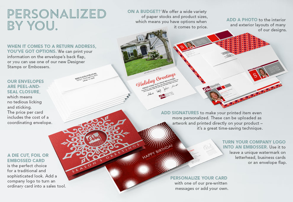 Options for personalization on CardsDirect.com. Return address, peel and seal envelopes, die-cut, foil, embossed, signatures, budget, company logos, and card personalization.