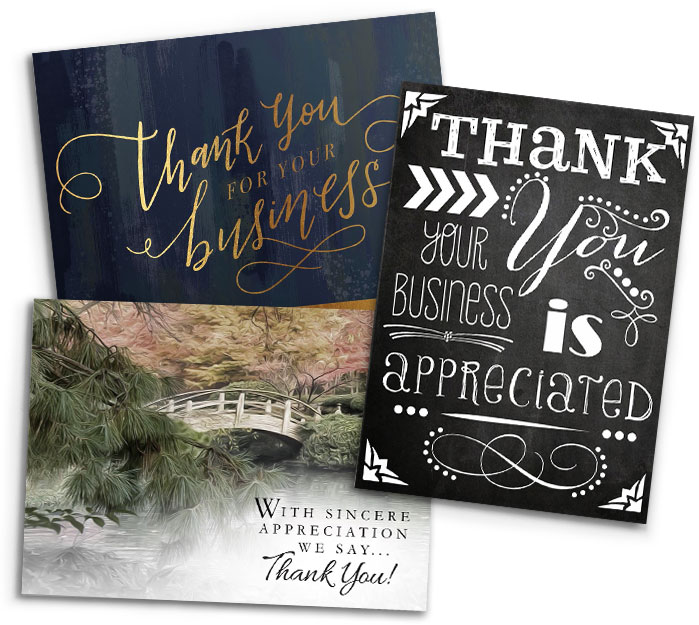 Three greeting cards with various 'business appreciation' messaging on a white background.