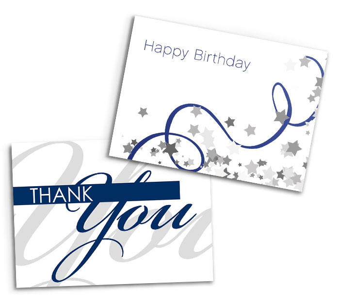 A birthday and a thank you card with white and blue designs on a white background.