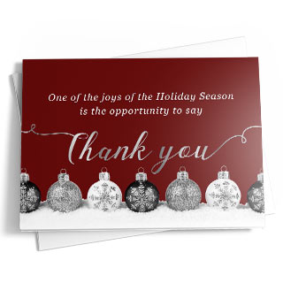 a christmas greeting card with a maroon background and white and blue christmas ornaments on top - Christmas Blessings For Cards