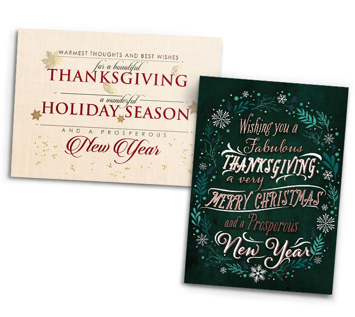 two greeting cards featuring designs that mention thanksgiving merry christmas and happy new year - Holiday Christmas Cards