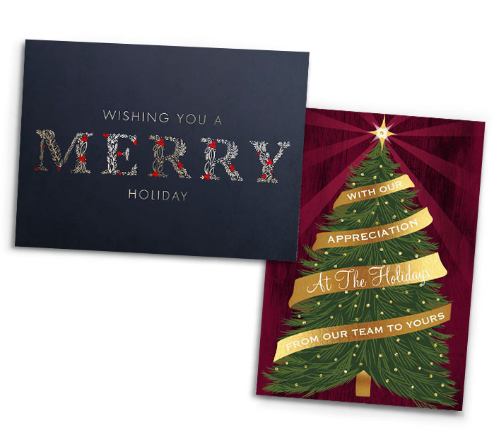 Two Greeting Cards With Christmas Wishes