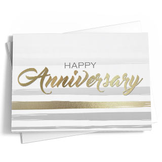 send a sincere happy anniversary with this bold greeting that features a striped design in fresh