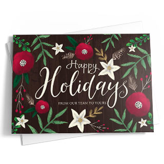 This card features seasonal foliage accents on the front in blue-gray, green, brown, and red. The message reads 'Happy Holidays' in stylish gold fonts.