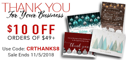 Thank You for Your Business. $10 Off Orders of $49+. Use Code: CRTHANKS8. Sale Ends 11/5/2018