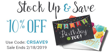 Stock Up and Save. 10% Off. Use Code: CRSAVE9. Sale Ends 2/18/2019