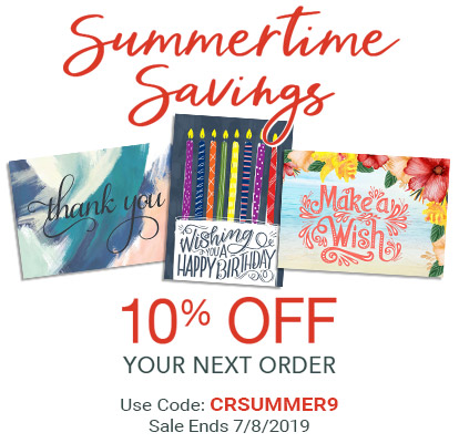 Summertime Savings. 10% OFF Your Next Order. Use Code: CRSUMMER9. Sale Ends 7/8/2019