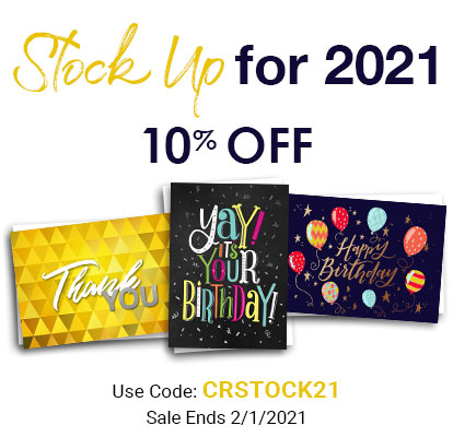 Stock Up for 2021. 10% OFF. Use Code: CRSTOCK21. Sale Ends 2/1/2021