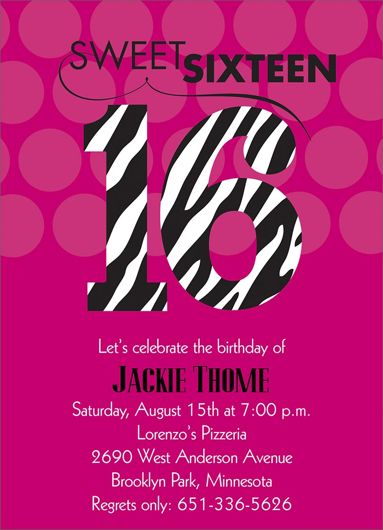 Invitation Card For Sweet 16 | purplemoon.co