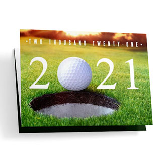 Golf-themed calendar cards with free customization.