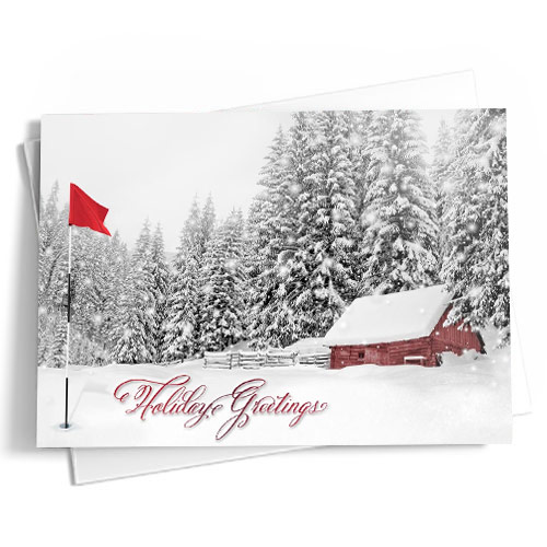 "A holiday card with soft white hues with subtle blue accents in the background with a snowy scene with red berries, white ornaments, and white golf ball ornaments in the foreground. The message reads ""Happy Holidays & A Happy New Year"" in off-white and red script."