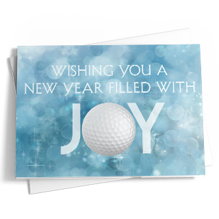 "A new year's greeting card featuring various shades of light metallic blue with white accents in the background and a message in white letters in the foreground that reads ""Wishing You A New Year Filled With Joy."" There is a golf ball in place of the ""O"" in the word ""Joy"""