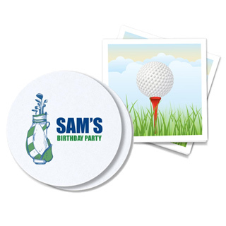 Golf-themed napkins and coasters for events.