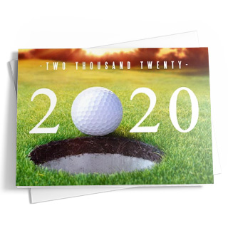 This fold-out golf-themed calendar card features tones of green, white, yellow, and autumn brown. At the top, you'll see the close-up of a golf ball about to go in the hole. The golf ball acts as the zero in the current year shown in numbers with the date written above in white letters. Below, you'll see the days and months displayed in white and yellow. Add a personalized message or your company name at the bottom.