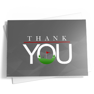 "A subtle geometric pattern is shown on the front and back of this golf-themed 'thank you' card in gray. The design on the front of the card includes a message of 'Thank You' in white with a red accent line below the word 'Thank.' A golf scene with green grass and a red flag is displayed in the letter ""O."""