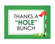 Thank you card featuring a golf course and golf ball.
